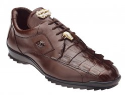 "Belvedere ""Vasco"" Brown Genuine Hornback Crocodile / Soft Calf Casual Sneakers with Eyes 336122."