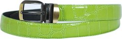 Serpi Lime Green Alligator Print Genuine Leather Belt GB-127