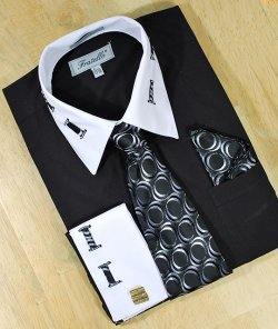 Fratello Black / White Laced Spread Collar And French Cuffs Shirt/Tie/Hanky Set FRV4105P2