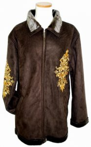 Prestige Chocolate Brown/Metallic Gold Embroidered Suede Leather Coat with Chocolate Brown Fur Lining