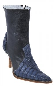Los Altos Ladies Blue Jean Genuine Hornback Crocodile Short Top Boots With Zipper 361814