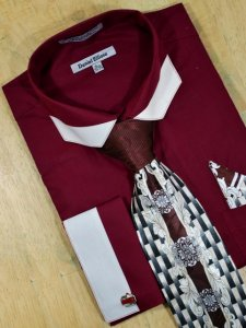 Daniel Ellissa Wine With White Trimming Polygonal Spread Collar Shirt/Tie/Hanky Set DS3750P2