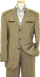 Inserch Brown / Cream Tweed Casual Suit With Brown Leather Trim 470