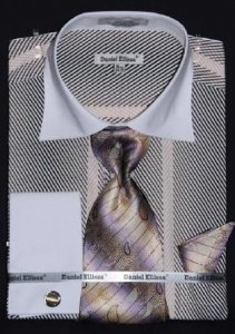 Daniel Ellissa Beige Two Tone Stripes Design Shirt / Tie / Hanky Set With Free Cufflinks DS3770P2