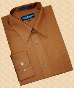Daniel Ellissa Solid Cognac Brown Cotton Blend Dress Shirt With Convertible Cuffs DS3001