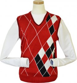 Pronti Red / White / Black Diamond Design V-Neck Sweater Vest K1627