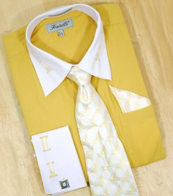 Fratello Mustard With Mustard / White Laced Spread Collar And French Cuffs Shirt/Tie/Hanky Set FRV4105P2