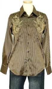 Pronti Gold / Black Metallic Striped Embroidered Long Sleeve Shirt S5851