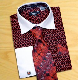 Avanti Uomo Black / Red Pointed Two Tone Design 100% Cotton Shirt / Tie / Hanky Set With Free Cufflinks DN61M.