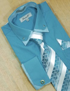 Fratello Turquoise / Sky Blue Double Collar With Rhinestones And French Cuffs Shirt/Tie/Hanky Set With Free Cufflinks FRV4111P2