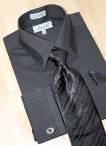 Fratello Black Pleated Collar /Pleated French Cuffs Shirt w/Pleated Tie/Hanky Set FRV4103