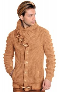 LCR Camel Button-Up Modern Fit Wool Blend Shawl Collar Cardigan Sweater 5587