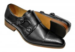 UV Signature Black Hand Burnished Vegan Leather Double Monk Strap Shoes G6859-389