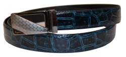 Serpi Navy Blue Alligator Print Genuine Leather Belt F9/30