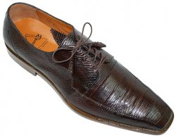 "Romano ""Odie"" Brown All-Over Genuine Lizard Shoes With Pleated Design On Top"