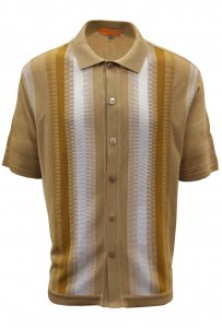 Silversilk Tan / Camel / White Button Up Knitted Short Sleeve Shirt 6108