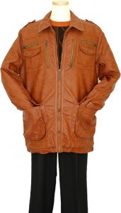 Prestige Cognac Genuine Lambskin Leather 3/4 Length Coat Led -104