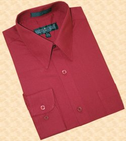 Daniel Ellissa Solid Wine / Burgundy Cotton Blend Dress Shirt With Convertible Cuffs DS3001