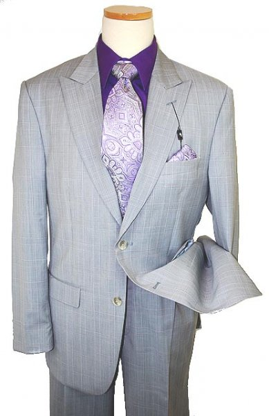 Steve Harvey Classic Collection Grey/Violet Plaid Super 120's Merino Wool Suit 1138