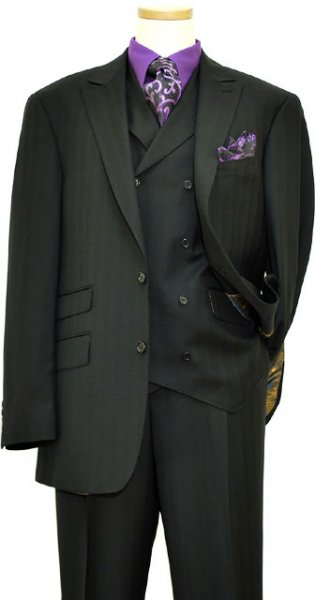 Extrema Black Shadow Stripes Super 140's Wool Vested Suit MFN019 / 1 / 174