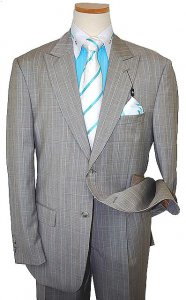 Steve Harvey Classic Collection Taupe/Turquoise Plaid Super 120's Merino Wool Suit 1139