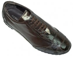 "La Scarpa ""Zeus"" Brown Genuine Ostrich And Lambskin Leather Casual Sneakers With Silver Alligator On Front"