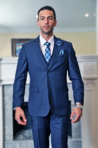 Statement Sapphire Blue / White Windowpane Super 150's Wool Vested Modern Fit Suit STZV-800
