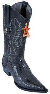 b09bb34869 Los Altos Black Genuine Teju 3X Pointed Toe W   Cowboy Heel Boots 95V0705