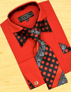 Daniel Ellissa Red / Black Polka Dots Double Collar Shirt / Tie / Hanky Set With Free Cufflinks FS1112P2