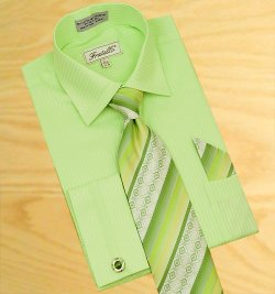 Fratello Lime Green Shadow Stripes Shirt/Tie/Hanky Set With Free Cuff links FRV4112P2