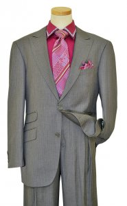 "Mecca ""Z23"" Grey With Lavender Pinstripes Super 120'S Hand-Pick Stitching Suit LF017"