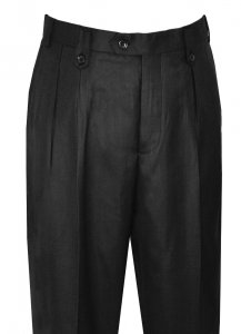 Pronti Black Wide Leg Slacks With Custom Button Tabs / Flapped Pockets P6046