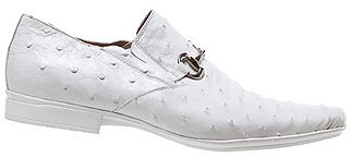 White All-Over Genuine Ostrich Loafer Shoes With Bracelet On Front