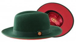 Bruno Capelo Dark Green / Red Bottom Australian Wool Fedora Dress Hat PR-303