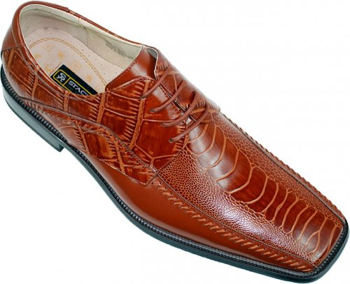 "Stacy Adams ""Fulbright"" 24549 Cognac Alligator / Ostrich Print Shoes"