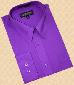 Daniel Ellissa Solid Purple Cotton Blend Dress Shirt With Convertible Cuffs DS3001