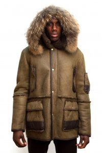 G-Gator Olive Green Sheepskin Parka Jacket With Hood And Leather Trimming 3800.