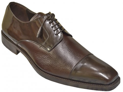 "Mezlan ""Soka"" Brown Gorgeous Fashion Cap Toe Genuine Deerskin / Polished Calfskin Leather Shoes 15089"