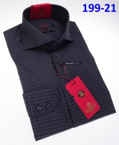 Axxess Classic Charcoal Grey Modern Fit Cotton Dress Shirt With Button Cuff 199-21.