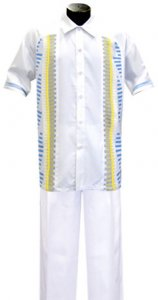 Silversilk White Button Front 2 PC Knitted Silk Blend Outfit 1860