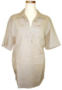 Successos 100% Linen Tan Embroidered Shirt S3231