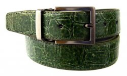 Serpi Olive Green Alligator Print Genuine Leather Belt F9/30