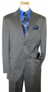Azione by Zanetti Metalic Silver Grey / Black Stripes Super 120's Wool Suit AN41031