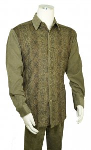 Pronti Olive Green / Black / Metallic Gold Snakeskin Design Corduroy Outfit SP6435