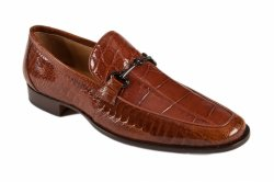 Mauri 4863/2 Dark Cognac Genuine Ostrich Leg / Alligator Dress Casual Loafers