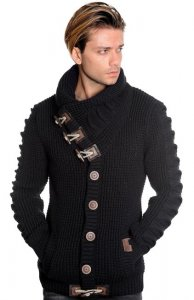 LCR Black Button-Up Modern Fit Wool Blend Shawl Collar Cardigan Sweater 5587