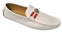 Faranzi White / Red Perforated Faux Leather Casual Driving Loafer Shoes F41373