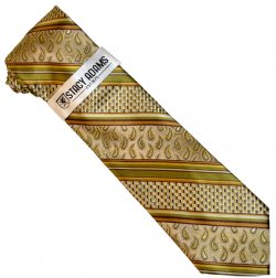 Stacy Adams Olive Green / Taupe / Gold Paisley / Striped Silk Necktie / Hanky Set SA202