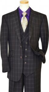 Extrema Violet / Black Plaid With Gold Windowpanes Super 120's Wool Vested Suit HN20119