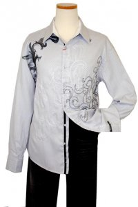English Laundry Grey Jacquard with Embroidered Design Long Sleeves Cotton Blend Shirt ELW985